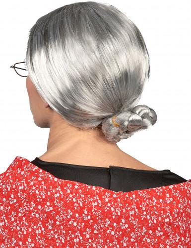 Graue Damenperücke Großmutter mit Dutt-1