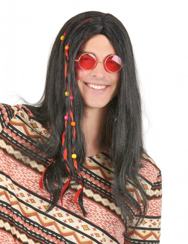 Schwarze Hippie-Perücke für Herren mit Perlen