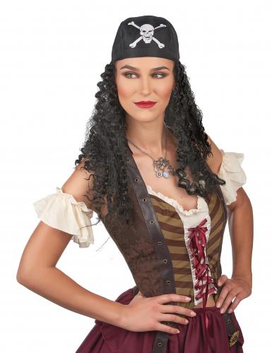 Piraten-Perücke mit Totenkopf-Bandana für Herren schwarz-weiss-1