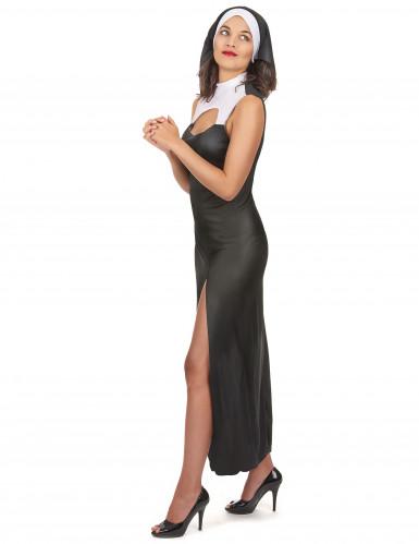 Sexy Nonne Damenkostüm schwarz-weiss-1