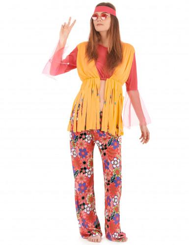 Hippie-Damenkostüm mit Fransen bunt