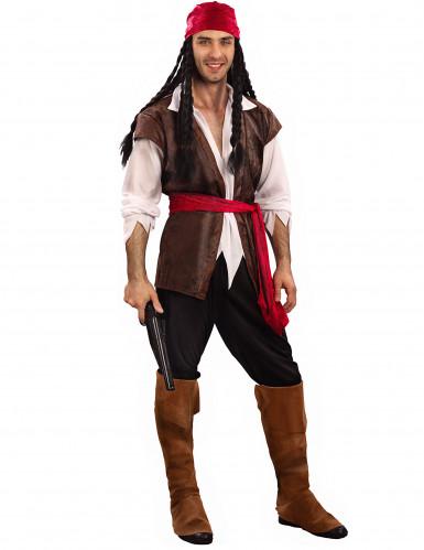 Seeräuber-Karneval-Kostüm für Herren braun-weiss-rot
