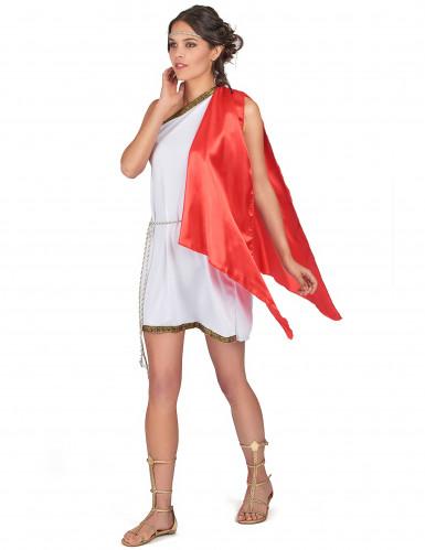 Römische Göttin Damenkostüm weiss-rot-goldfarben-2