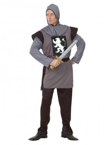 Mittelalterliches Ritter-Herrenkostüm braun-grau-weiss