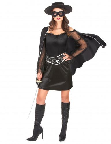 Schwarze Rächerin-Kostüm für Damen