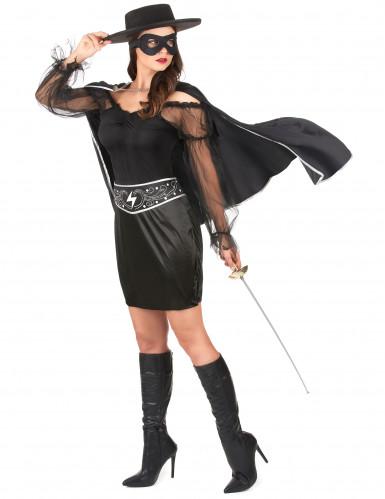 Schwarze Rächerin-Kostüm für Damen-1