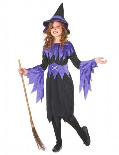 Halloween Hexen-Kostüm violett für Mädchen