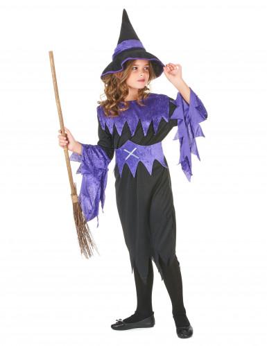 Halloween Hexen-Kostüm violett für Mädchen-1