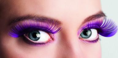 Falsche Wimpern, violett, für Erwachsene