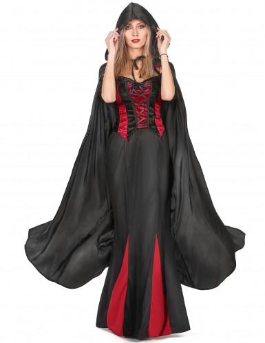 Vampirella-Umhang schwarz Halloween für Erwachsene