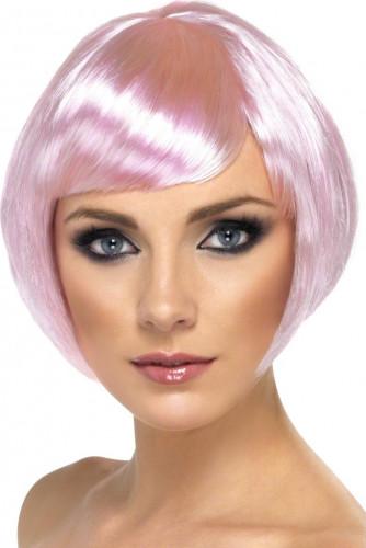 Perücke für Damen, Glamour, rosa, kurze Haare