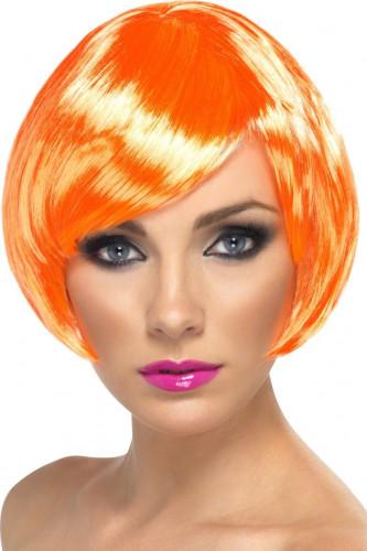 Perücke für Damen, Glamour, orange, kurze Haare