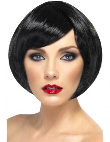Perücke für Damen, Glamour, schwarz, kurze Haare
