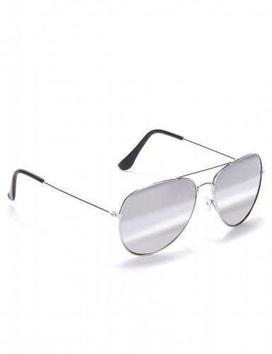 Piloten Sonnenbrille für Erwachsene silberfarben-schwarz