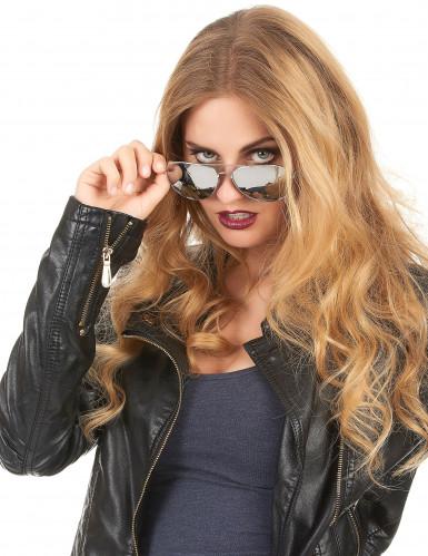 Piloten Sonnenbrille für Erwachsene silberfarben-schwarz-1