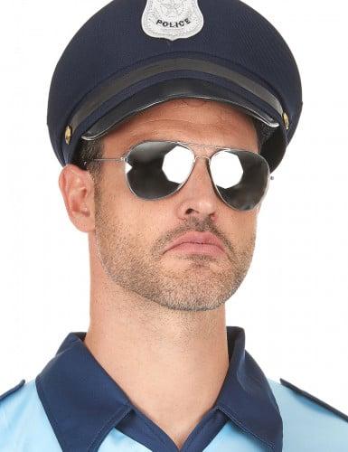 Piloten Sonnenbrille für Erwachsene silberfarben-schwarz-2