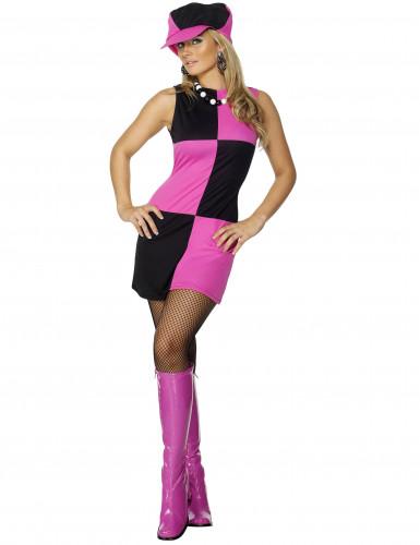 Stilvolles Disco-Kostüm für Damen schwarz-pink