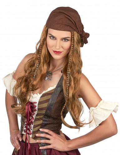 Piraten-Perücke für Herren braun-blond 50cm-1
