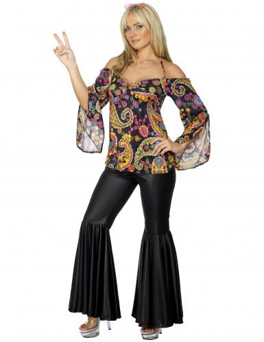 Hippiekostüm für Damen mit Schlaghose bunt