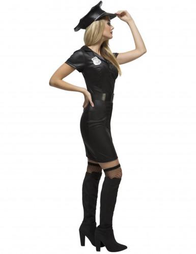 Heisses Polizistinnen-Kostüm für Damen schwarz-silberfarben-1