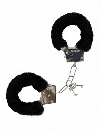 Schwarze Handschellen mit Fell