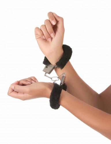 Schwarze Handschellen mit Fell-1