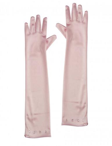 Rosa lange Handschuhe für Kinder