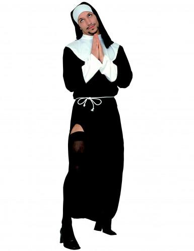 Nonnenkostüm für Herren religiöse Verkleidung schwarz-weiss