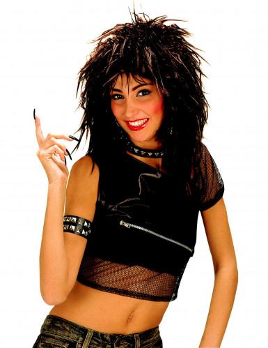 Schwarze Rock-Perücke für Damen