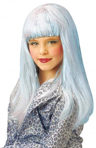 Hellblaue Dana Perücke für Mädchen