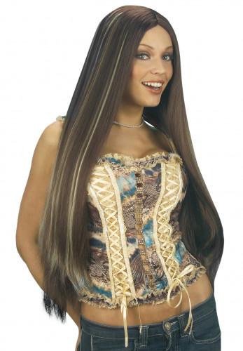 Lange Perücke mit Strähnen für Damen