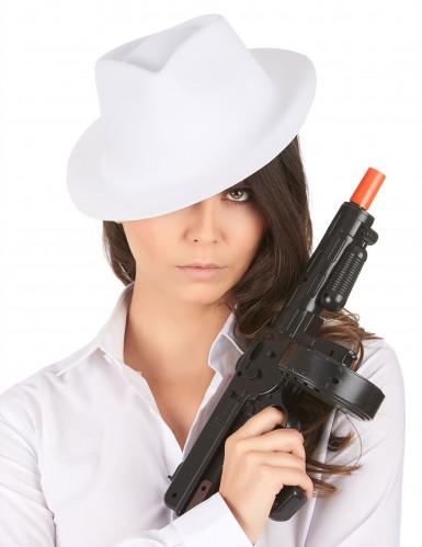 Gangsterhut für Erwachsene Kopfbedeckung weiss-1