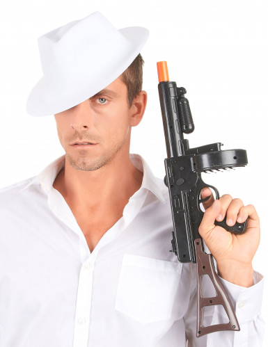 Gangsterhut für Erwachsene Kopfbedeckung weiss-2