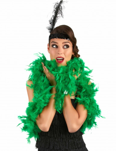20er-Jahre Federboa Karneval-Accessoire grün-1