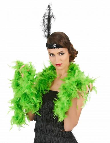 Schrille Federboa Karneval-Zubehör 20er-Jahre grün-1