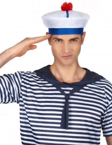 Matrosenhut-Seefahrer für Erwachsene weiss-blau-1