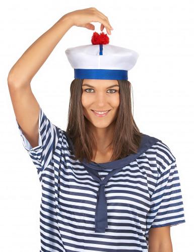 Matrosenhut-Seefahrer für Erwachsene weiss-blau-2