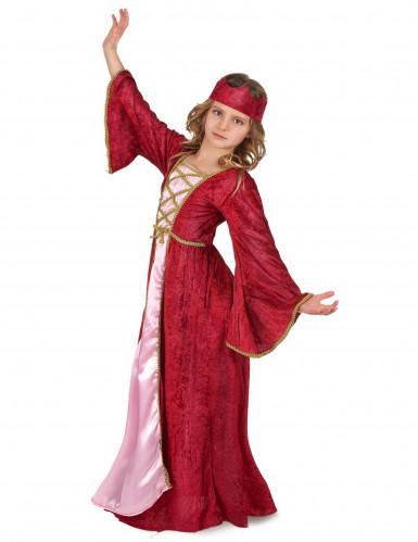 Mittelalterliches Königin-Kinderkostüm für Mädchen rot-pink-goldfarben-1