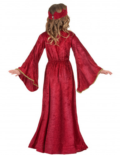 Mittelalterliches Königin-Kinderkostüm für Mädchen rot-pink-goldfarben-2