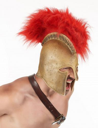 Römischer Soldatenhelm mit Helmbusch für Erwachsene rot-goldfarben
