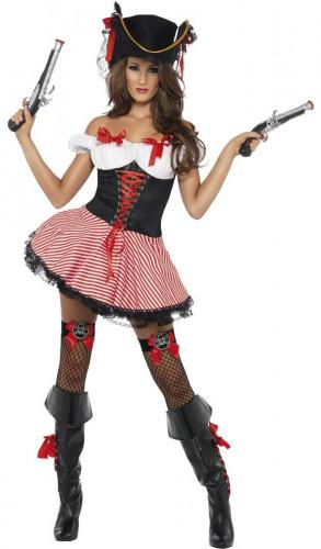 Sexy Piratenbraut-Kostüm schwarz-rot-weiss