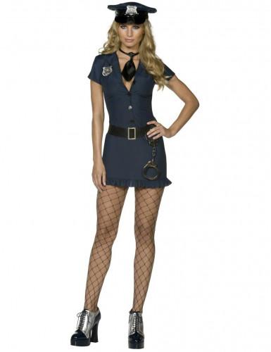 Sexy Polizistinnen-Damenkostüm schwarz-blau