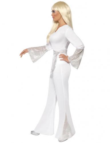 70er-Jahre Sängerin Disco-Kostüm für Damen weiss-silber-1