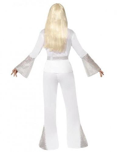 70er-Jahre Sängerin Disco-Kostüm für Damen weiss-silber-2