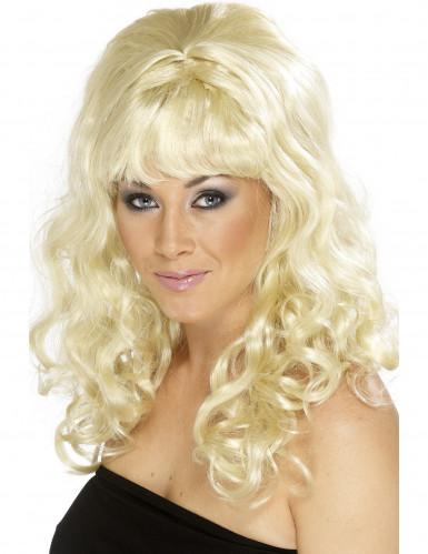 Toupierte Langhaar-Perücke für Damen lockig blond