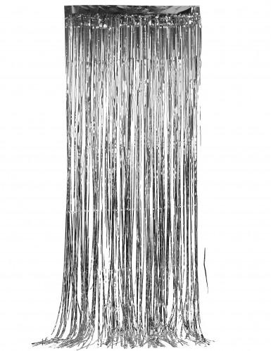 Silberner glänzender Lametta-Vorhang