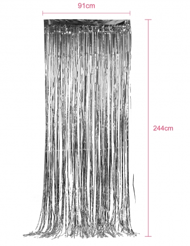 Silberner glänzender Lametta-Vorhang-1