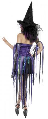 Hexen-Damenkostüm für Halloween lila-schwarz-1