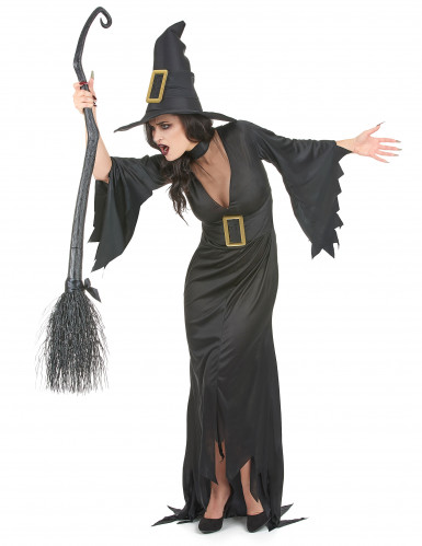 Hexen-Halloween-Damenkostüm schwarz-goldfarben-1