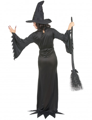 Hexen-Halloween-Damenkostüm schwarz-goldfarben-2
